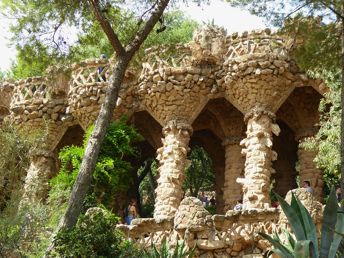 Park Güell is a showcase of work of Antoni Gaudí in combining landscape and architectural designs together  in a natural setting