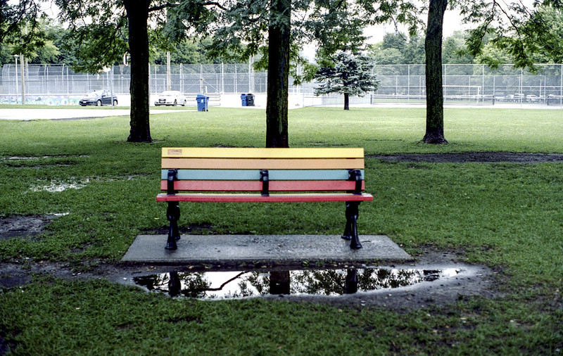 Rainbow Bench in the Middle of Nowhere