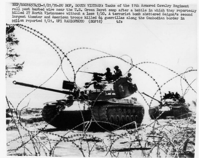 January 21, 1970, Du Bop – M-48 Patton tanks of the 11th ACR roll past barbed wire near the US Green Beret camp after a battle in which they reportedly killed 27 Norh Vietnamese without a loss