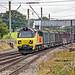 Class 70, 70817 works 6C37 Chirk Kronospan to Carlisle with empty logging wagons through Balshaw Lane Junction 02.09.2018