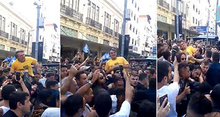 Supporters filmed attack against Bolsonaro during campaign event in Juiz de Fora on Thursday - Créditos: Collage of TV footage