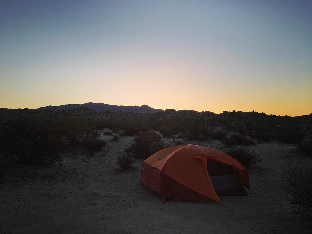 https://www.instagram.com/p/BfjrUSfl9Nr/ Sunrise over orange tent in Joshua Tree National Park in freezing temps