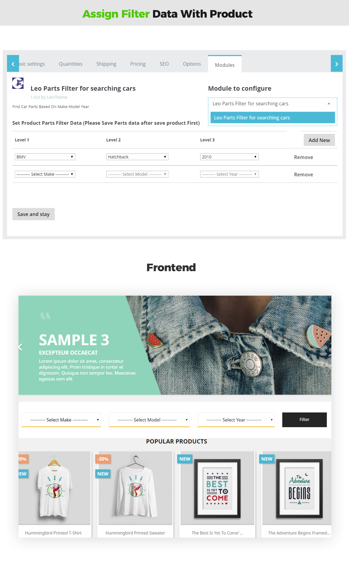 assign filter data with product - leo car/parts filter prestashop module