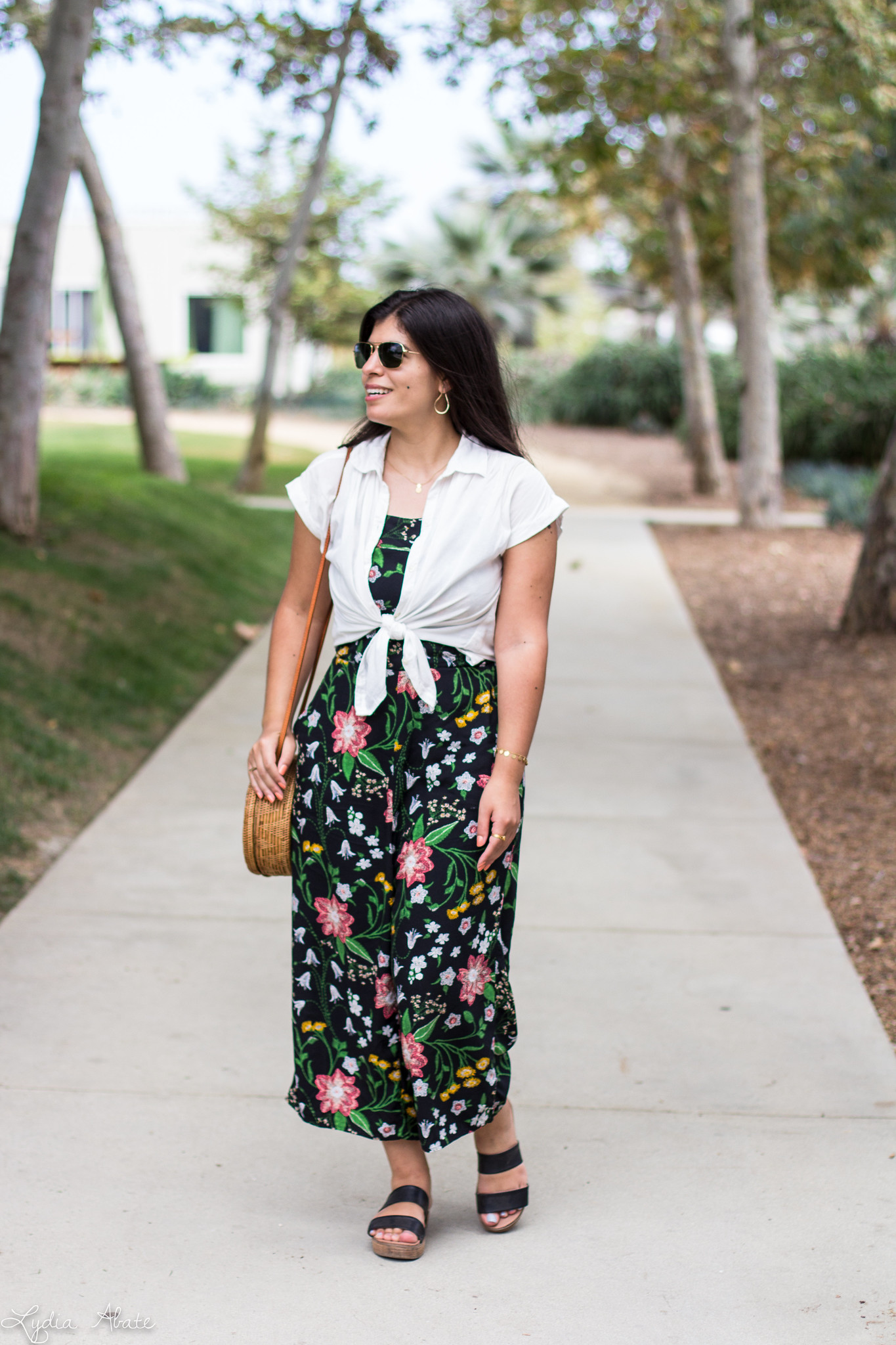 Floral Jumpsuit, white button down, round straw bag-1.jpg