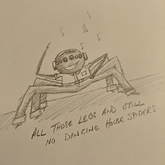 Eight-legged visitors distracting me from editing AI paper. Current arachnid could do with a few disco lessons from a Peacock spider maybe. #doodling #spider-pants,spider-pants...