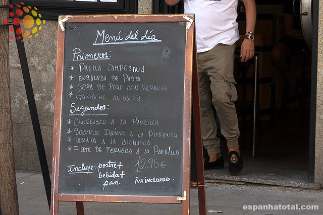 menú del día, Madrid