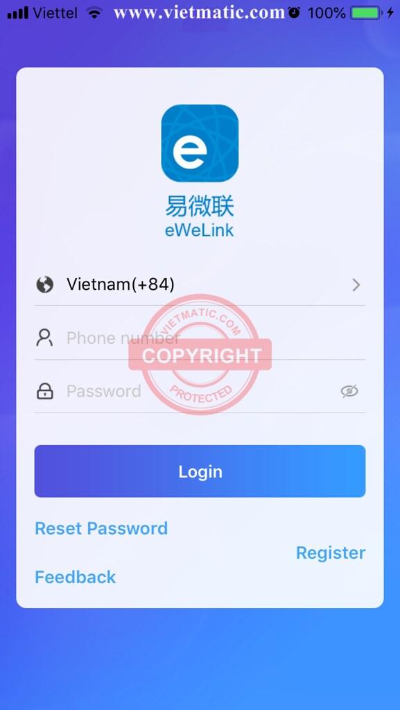 Màn hình đăng nhập eWelink