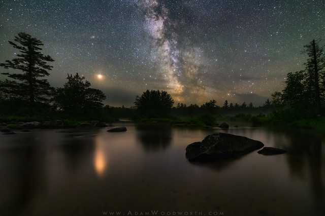 Penobscot River with Mars and Milky Way