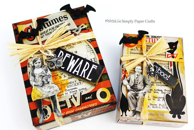 Meihsia Liu Simply Paper Crafts Mixed Media Halloween Box Wrap Tim Holtz Simon Says Stamp 1