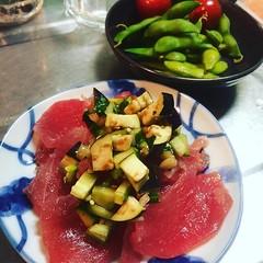 7 minute cooking❤︎ ・ ・ ・ #天然マグロ #山形だし #枝豆 #だだちゃ豆 #トマト #東京 #晩ごはん #夕食 #maguro #tuna #yamagatadashi #edamame #dadachamame #tomato #tokyo #japan #dinner