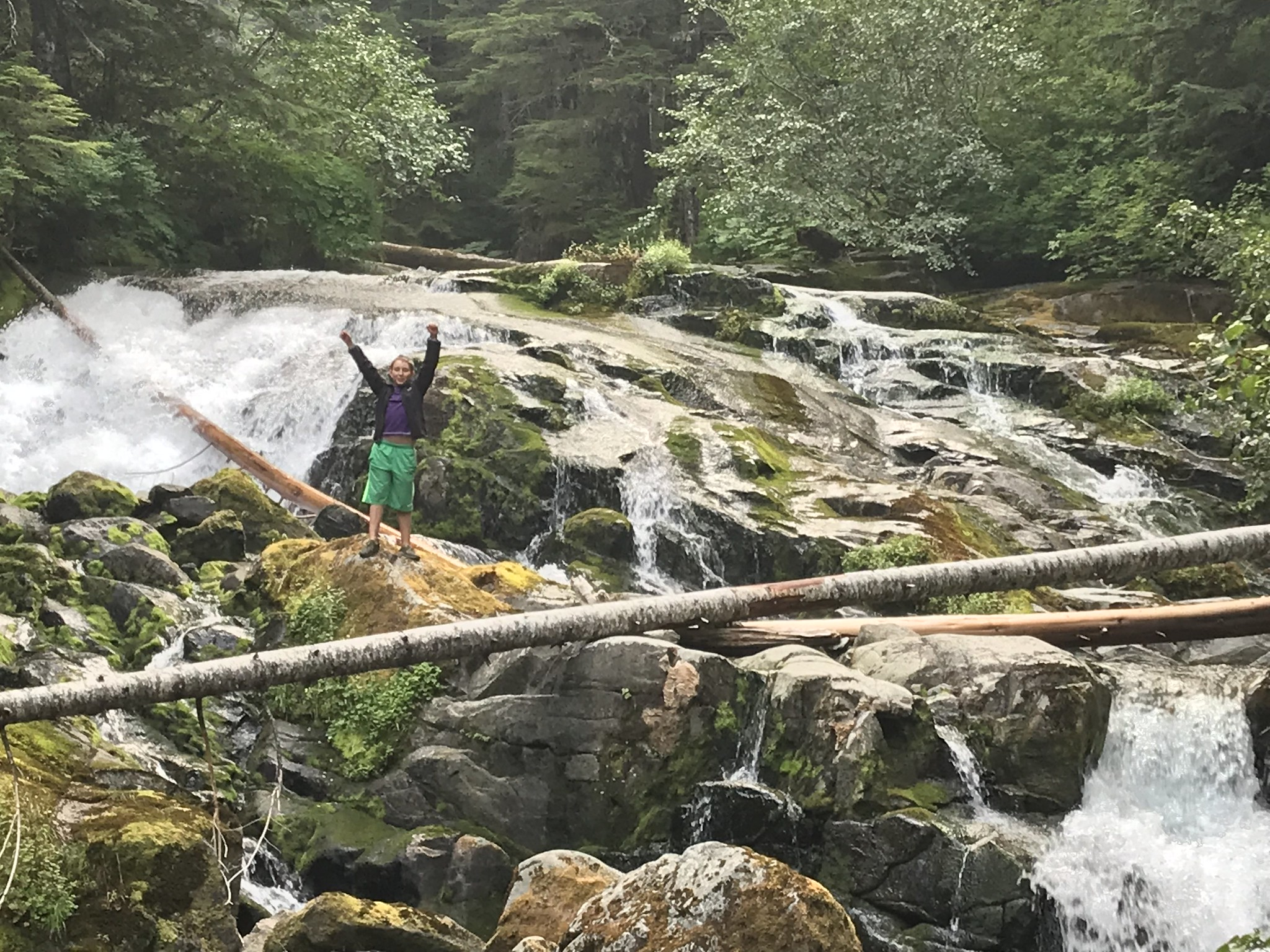 Casper triumphant on a river island