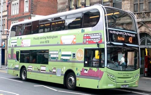 YP63 WFC 'Nottingham City Transport, No. 603 'Proudly serving Nottingham since 1878'. Scania N230UD / Alexander Dennis Ltd. Enviro 400 /3 on Dennis Basford's railsroadsrunways.blogspot.co.uk'