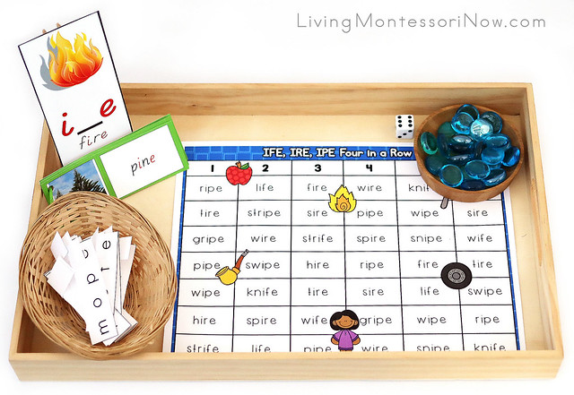 Tray with Silent e Game and Activities