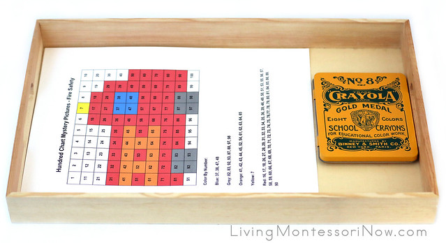 Tray with Fire Engine Hundred Chart Art