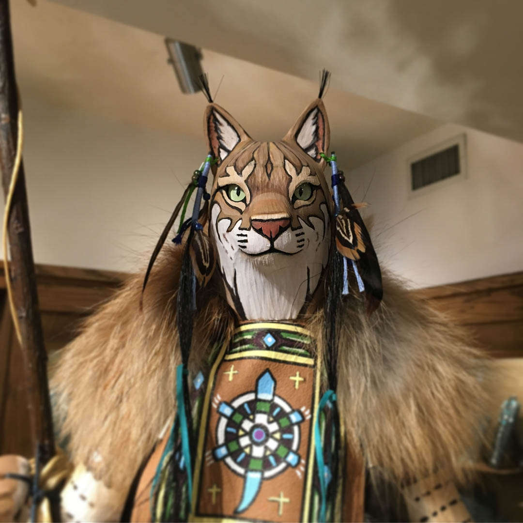 Closeup (head and shoulders) of the Bobcat Manitou statue in the Mejastic Hotel Store at Yosemite National Park