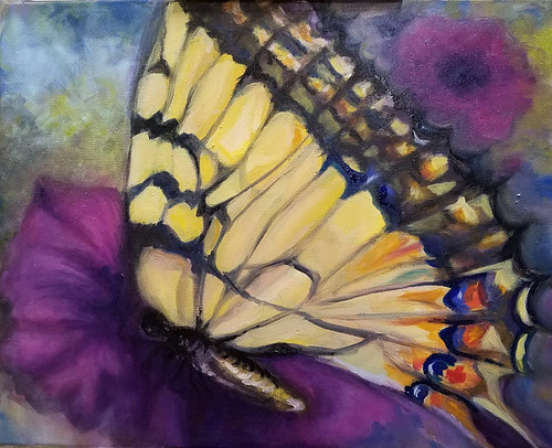"""Tiger Swallowtail"" oil painting by Jill Cross. The Sanford Seminole Art Association's ""A Splash of Color"""