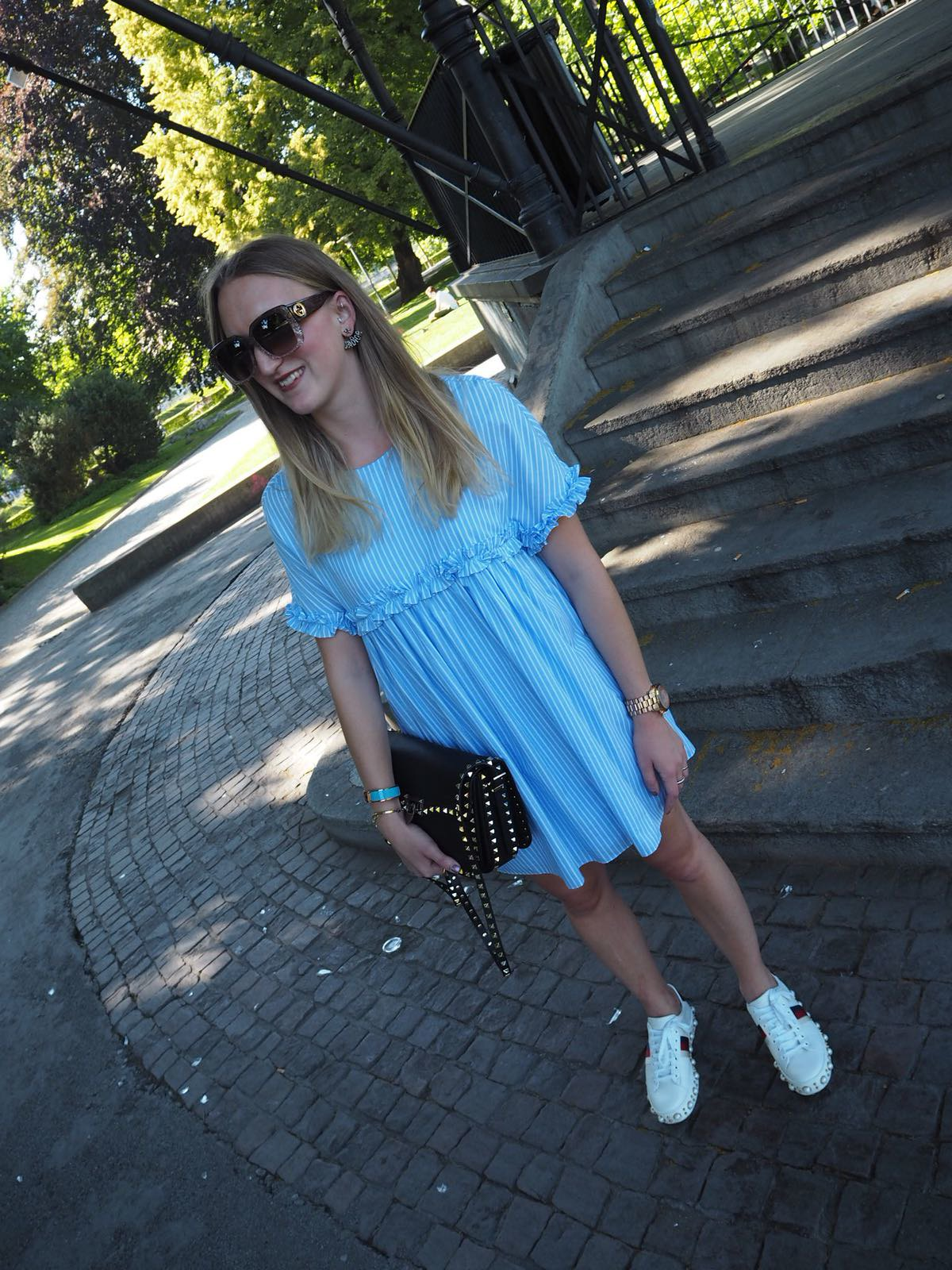 blue-dress-and-gucci-ace-whole-outfit-wiebkembg