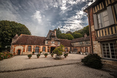 inside the charming courtyard of Château de Boutemont, Ouilly-le-Vicomte, Calvados, Normandy, France - Photo of Pierrefitte-en-Auge