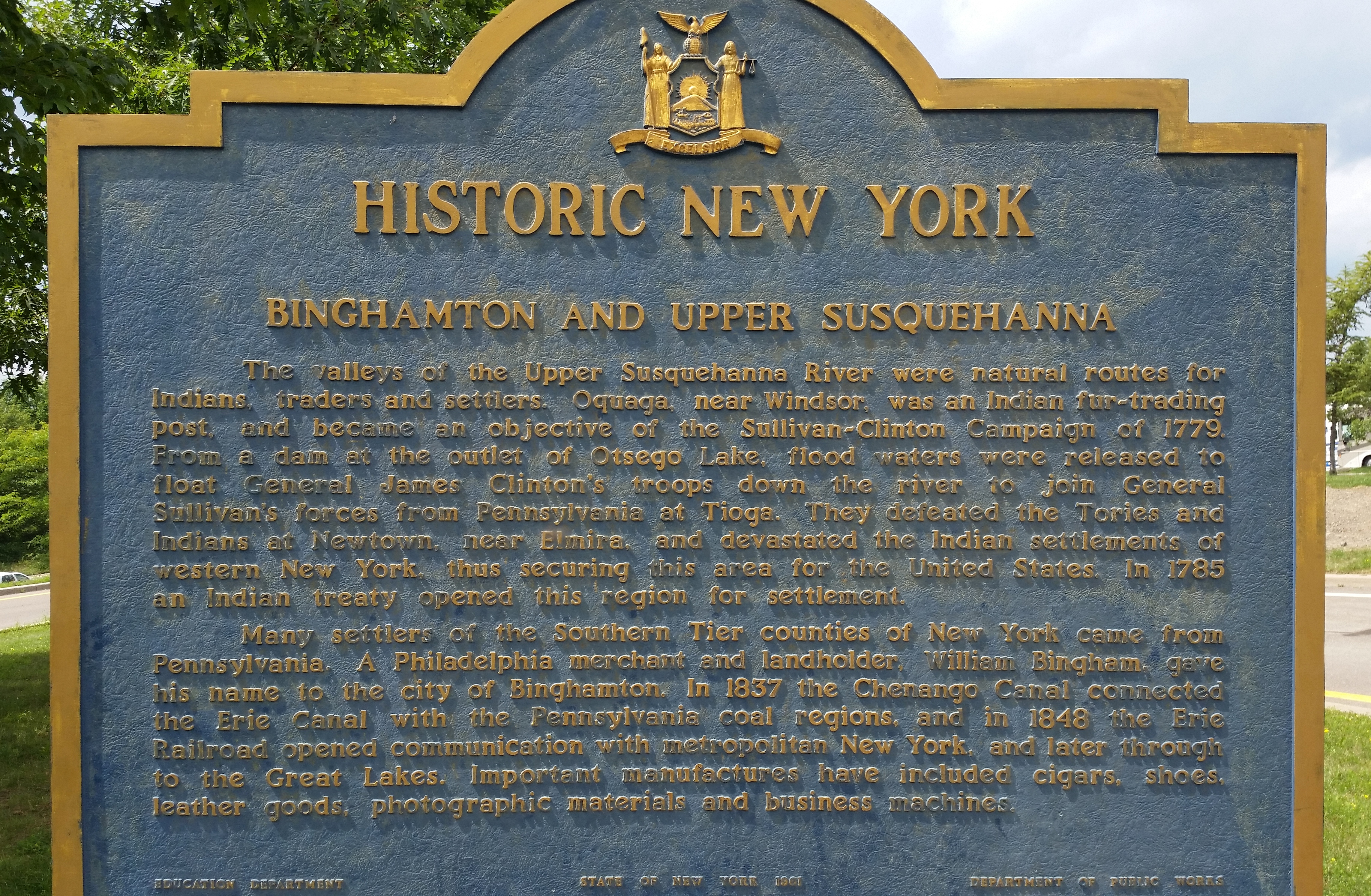 Historical marker at Kirkwood, New York. Photo taken on August 11, 2016.