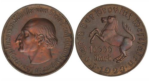 1923 Westphalia notgeld toen 10000 Marks