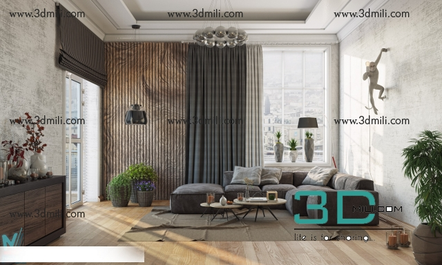 11  Living room 3DSmax file free download - 3D Mili