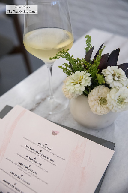 Menu and my glass of Domaine Faiveley Bourgogne Blanc 2015, France