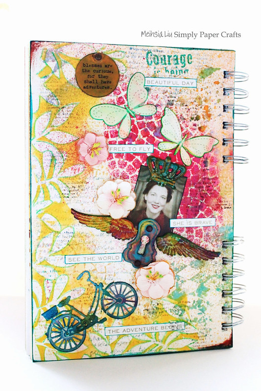 Meihsia Liu Simply Paper Crafts Mixed Media Art Journal Simon  Says Stamp Dies Tim Holtz Stencils Brave Adventure Journey