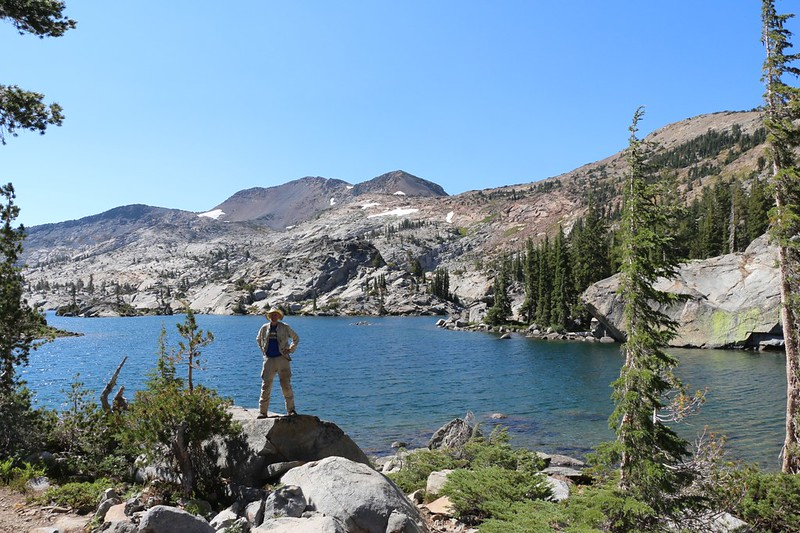 Me posing on the shore of Fontanillis Lake with Dicks Peak behind me from the Pacific Crest Trail