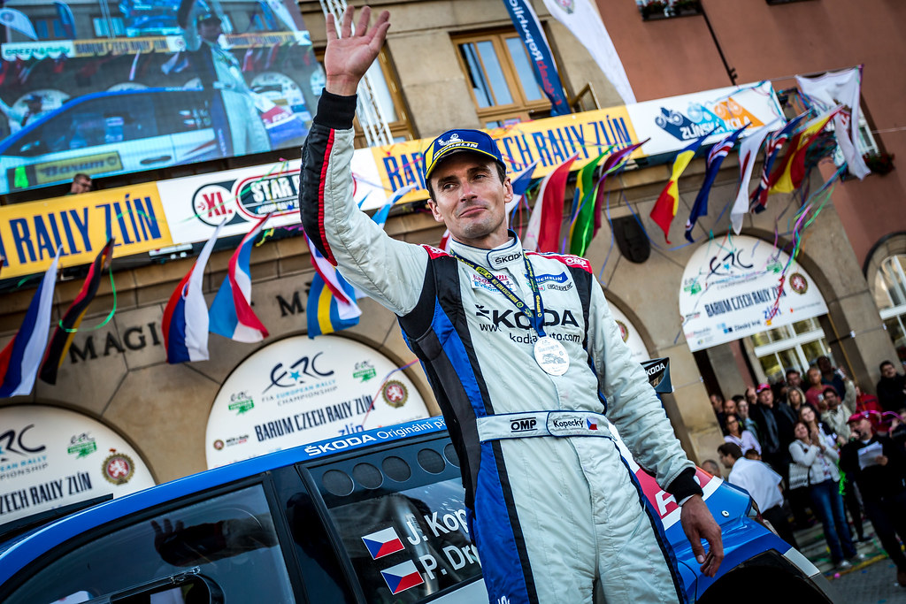 Kopecky Jan, CZE, Skoda Motorsport, Skoda Fabia R5, podium ambiance during the 2018 European Rally Championship ERC Barum rally,  from August 24 to 26, at Zlin, Czech Republic - Photo Thomas Fenetre / DPPI