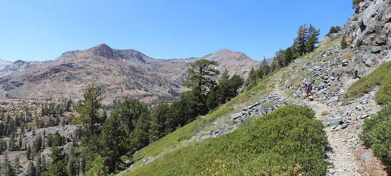 The Pacific Crest Trail as it descends south from Dick Pass offers plenty of views to the west