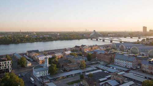 riga latvia lettland city cityscape citycenter baltic balticnation eu europe europa oldtown hansestadt daugava river aerialview aerial sunset