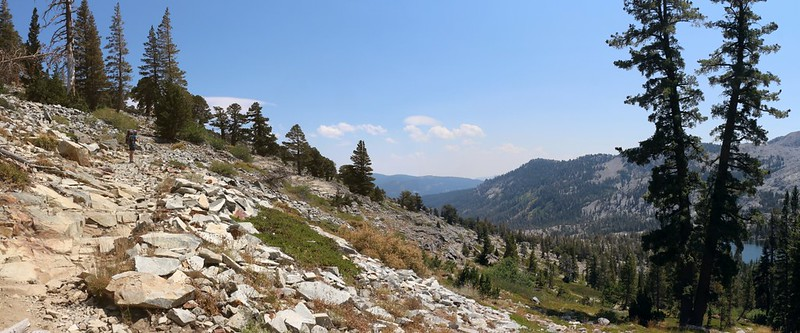 Panorama shot looking south as we hike the PCT north of Echo Lake into the Desolation Wilderness