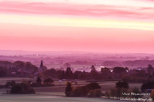 Sonnenaufgang über dem Thüringer Becken