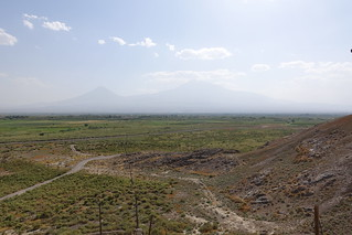 View of Mount Ararat and the Armenia/Turkey border from Khor Virap