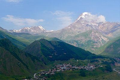 Blick auf den Berg Kasbek