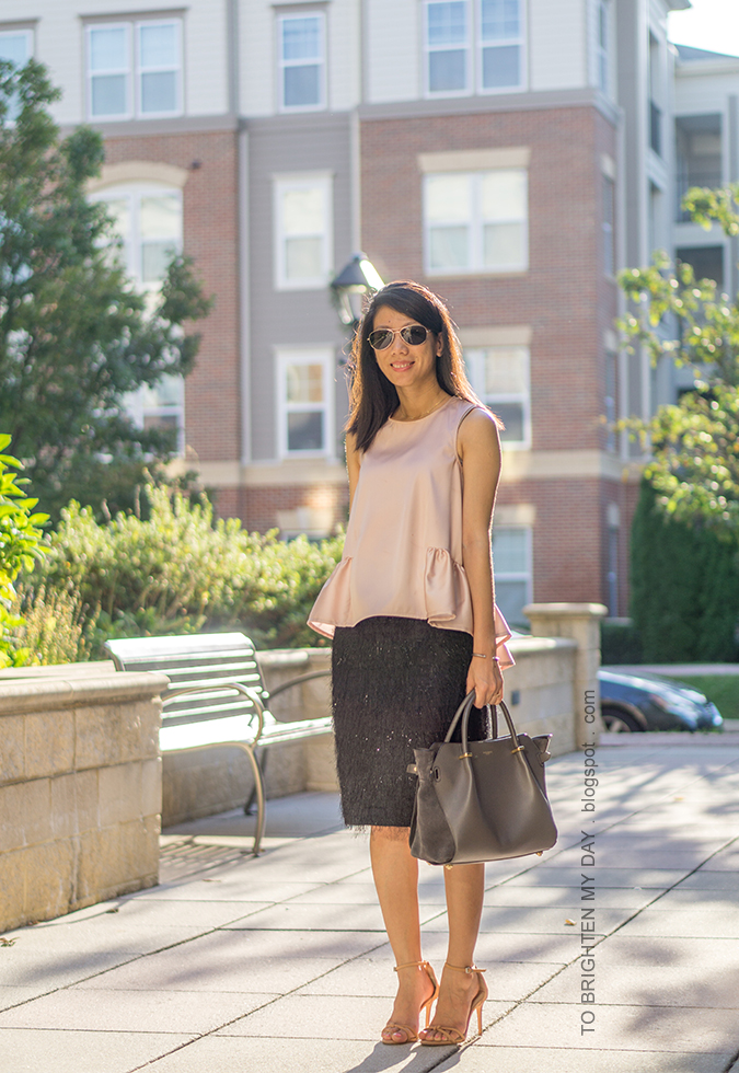 pave line pendant necklace, pink peplum top, gray suede tote, silver cuff, black eyelash fringe pencil skirt, brown knot sandals