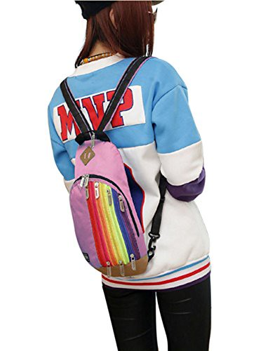 Daypacks, Women Men Fashionable Stylish Rainbow Portable Casual Shoulder Bags Chest Bags Daypacks Outdoor Dating Shopping School Travel Camping Backpacks Daypacks Pink Review