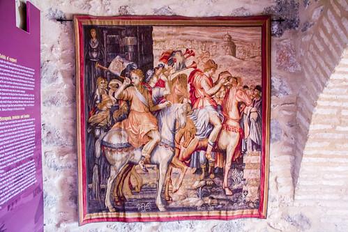 tapiz medieval en Torre del Homenaje Castillo Doña Berenguela Ciudad Real