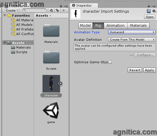 Blender Character model import settings in Unity   If you us