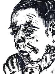 表現力豊かな おとこ   ポートレート 紙にインクを描く男性   肖像画の描画