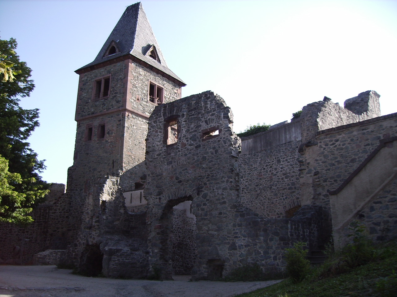 Ruins of the inner castle and tower of Burg Frankenstein n the Odenwald overlooking the city of Darmstadt, Germany. It is thought that this castle may have been an inspiration for Mary Shelley when she wrote her 1818 Gothic novel Frankenstein.