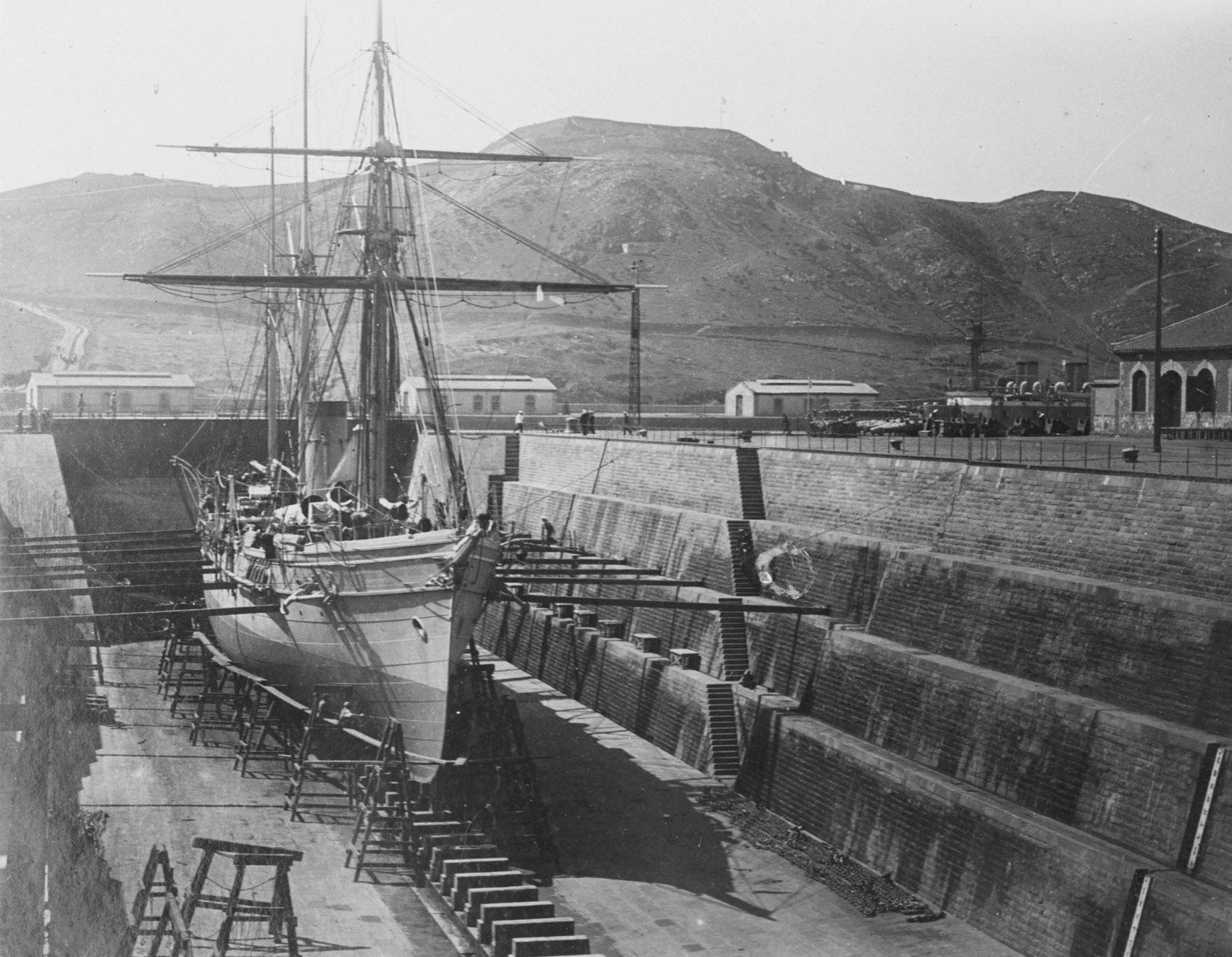 Крейсер «Забияка» в сухом доке Порт-Артура
