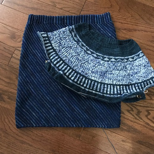 I took this pic of my skirt and the progress of my Zweig sweater on August 25th