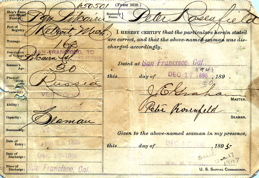 The shipping papers of Peter Rosenfeld who was a crew member on the ship Pitcairn's fourth voyage into the Pacific Ocean from San Francisco in 1894.