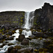 Öxarárfoss waterfall over the North American Plate Tectonic Plate in Thingvellir National Park - along the Golden Circle - Thingvellir Iceland
