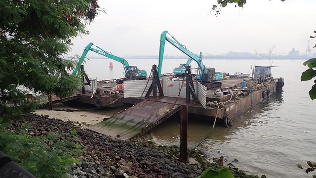 Large barge on Punggol Beach, Sep 2018