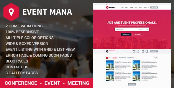 EventMana v1.8.2 - Event Management WordPress Theme