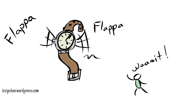 wristwatch flying away