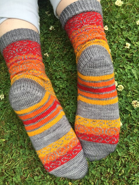 Swirls and stripes socks by Kat Knight 9