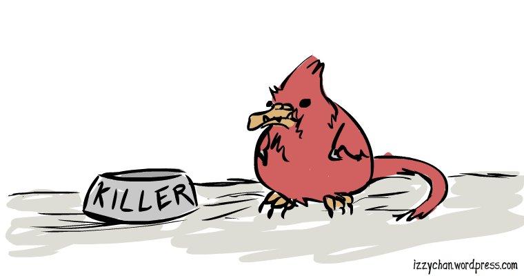fat fluffy red bird dino killler